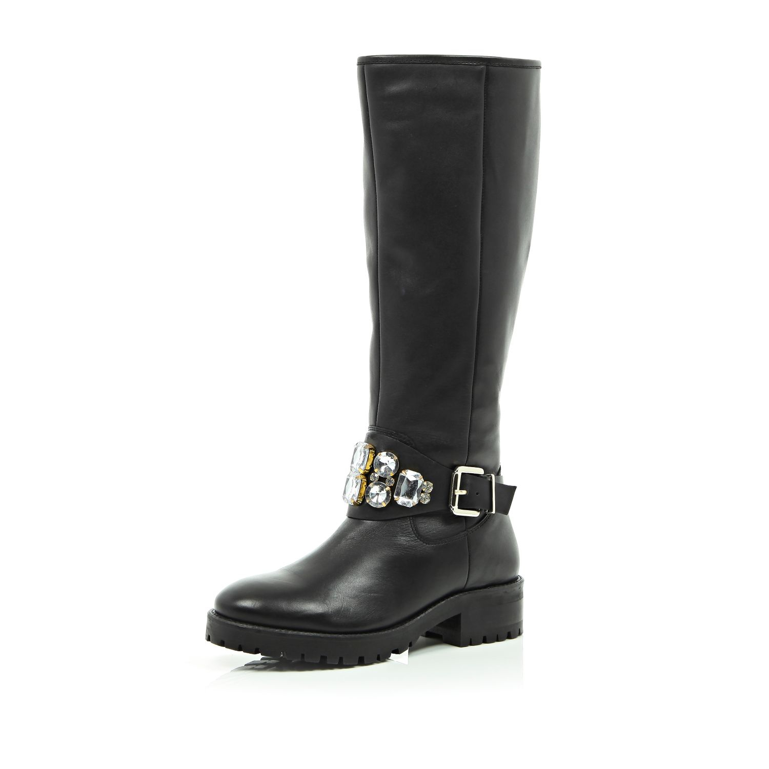 river island black leather embellished knee high boots in