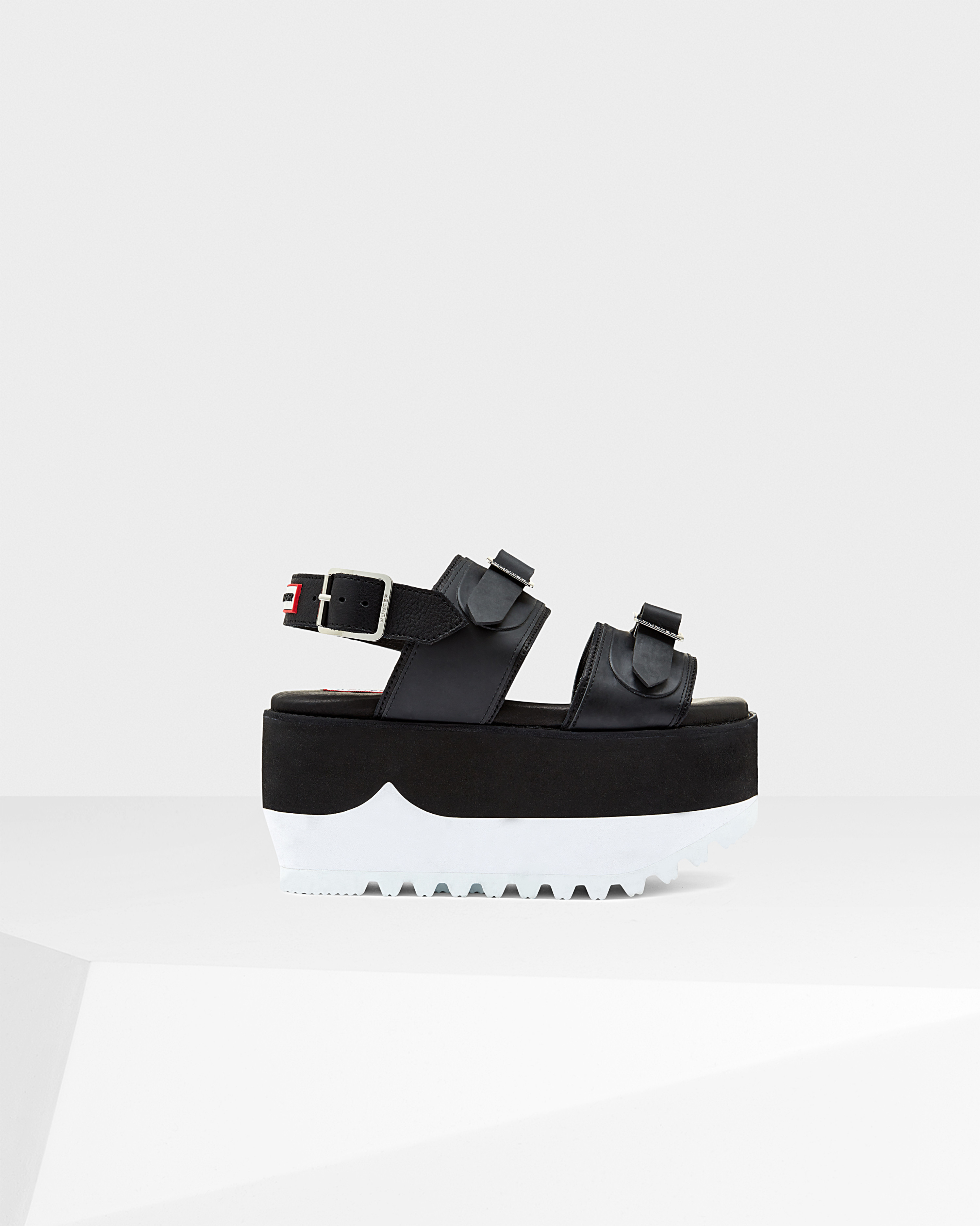 c6b4f5715f0 Lyst - HUNTER Original Double Buckle High Flatform Sandal in Black