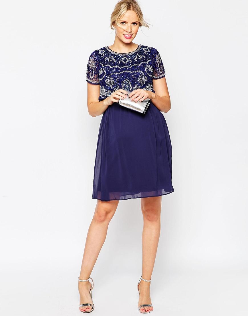 Asos Nursing Midi Dress With Embellishment in Blue | Lyst