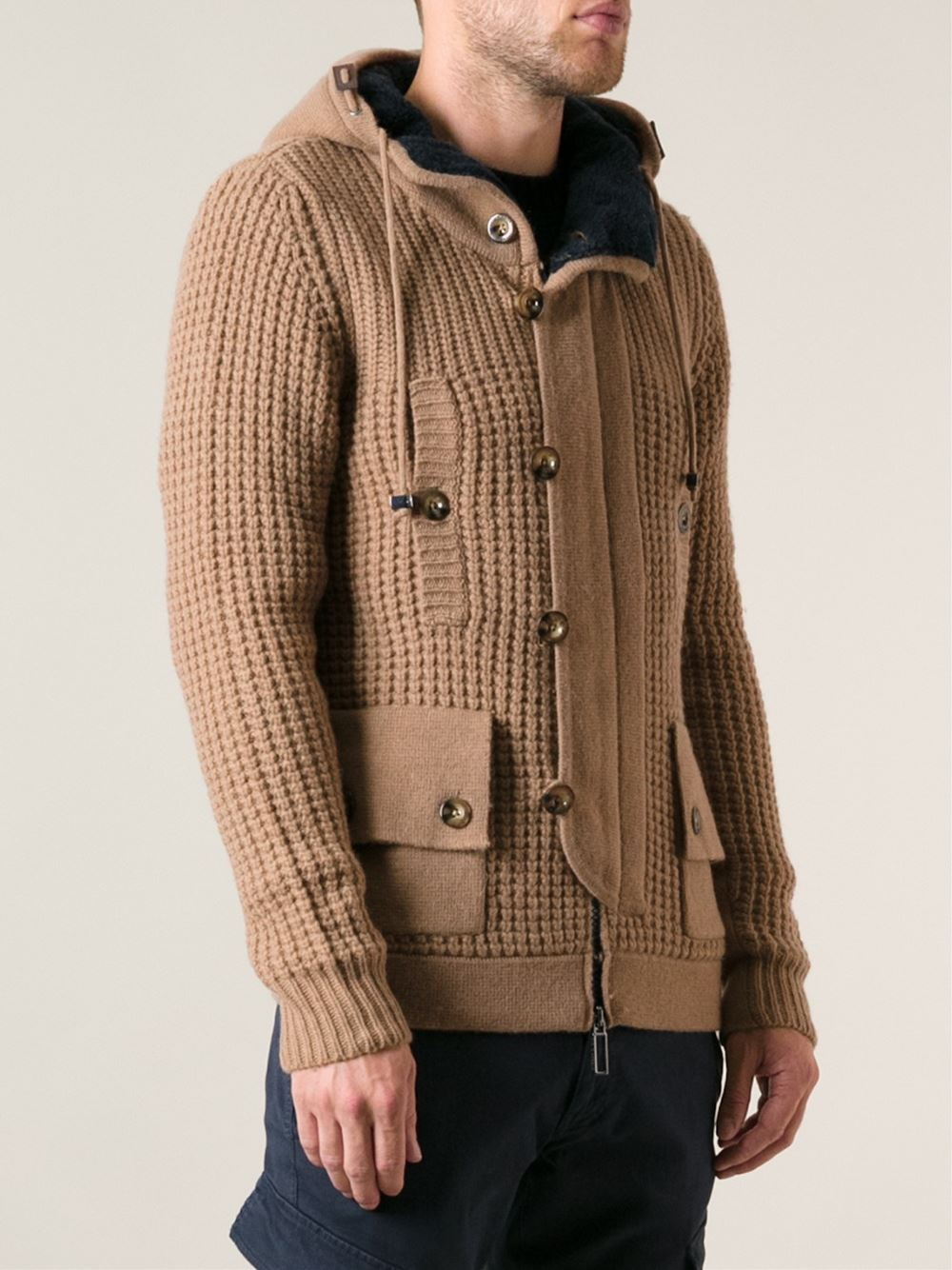Paolo pecora Cable Knit Hooded Cardigan in Natural for Men | Lyst