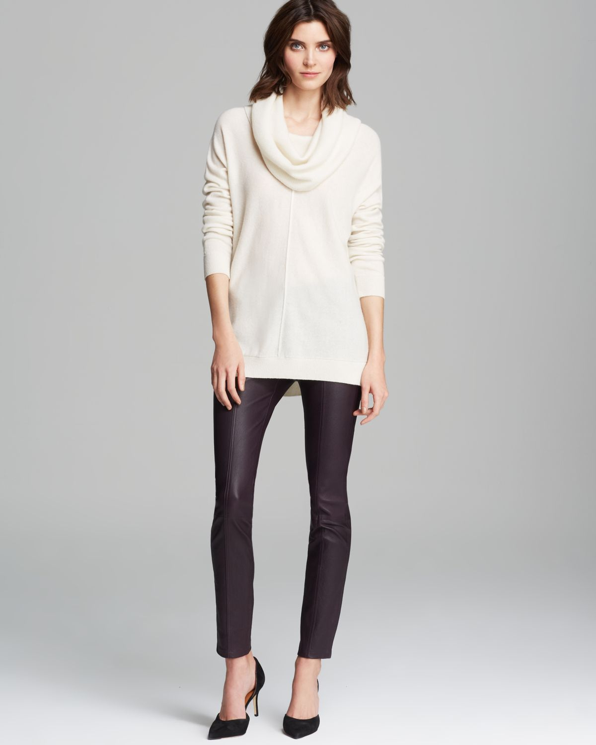 Vince Sweater Wool Cashmere Cowl in White | Lyst