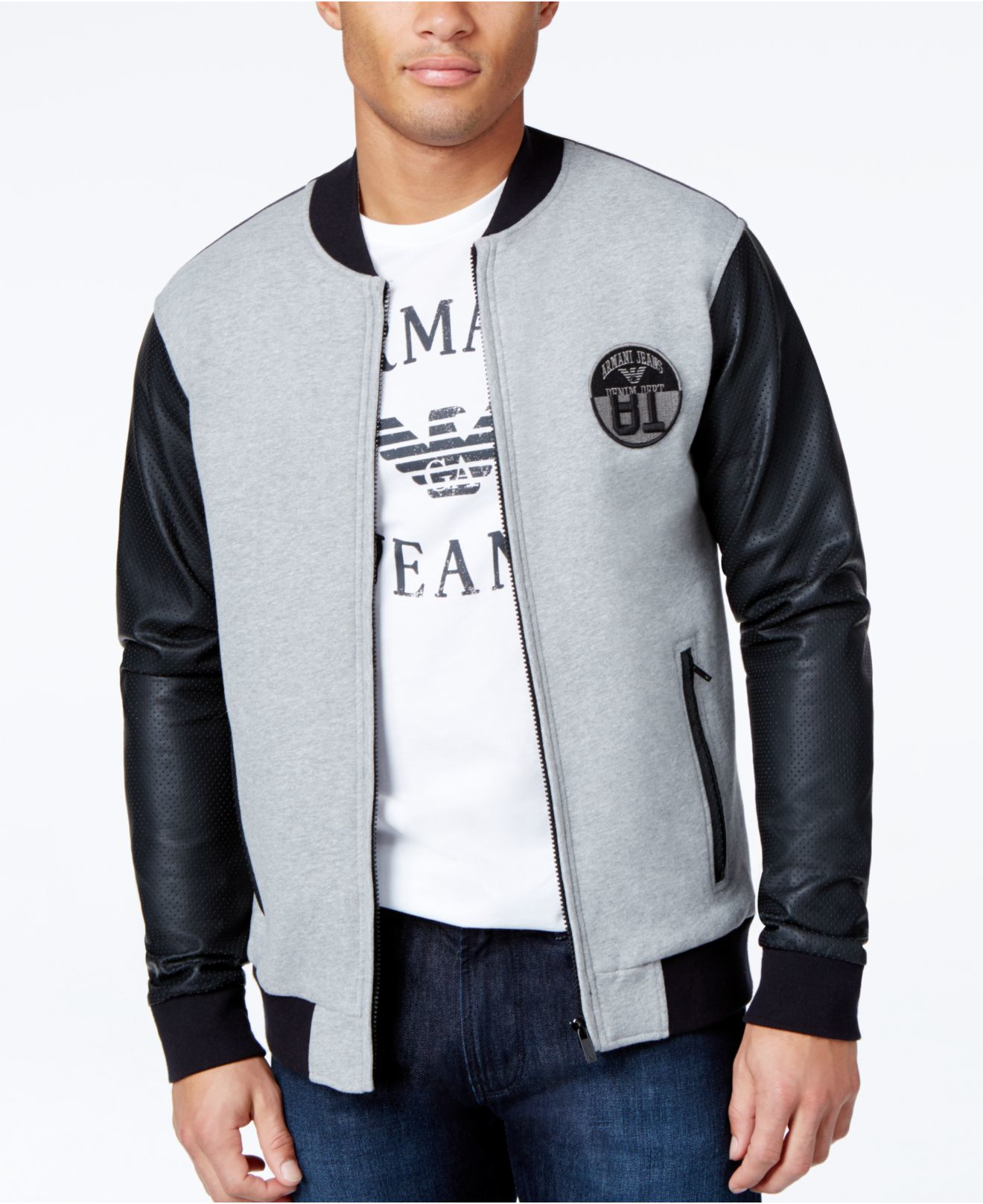 Armani jeans Colorblock Baseball Fleece Jacket in Black for Men | Lyst