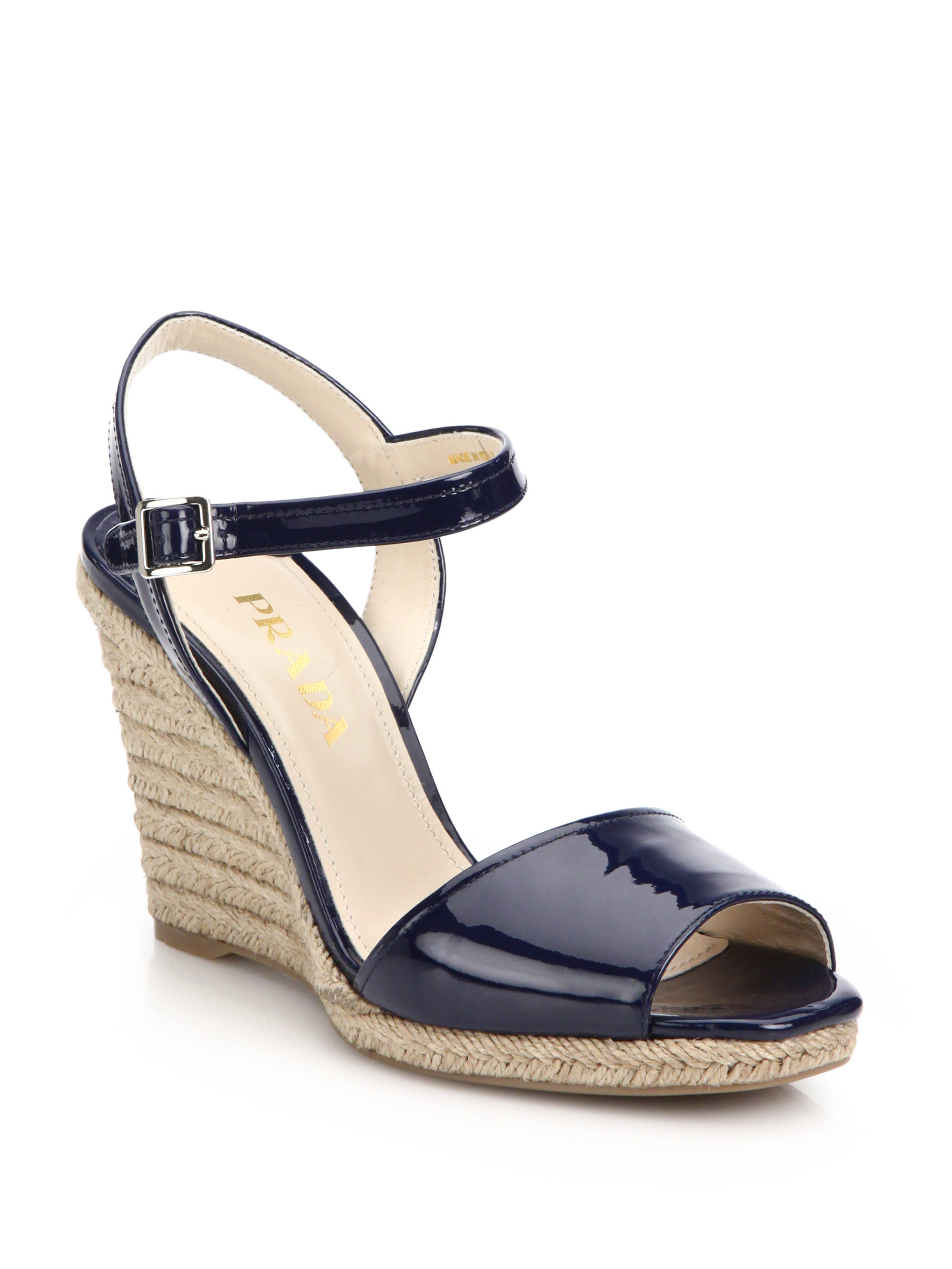 Lyst Prada Patent Leather Espadrille Wedge Sandals In Blue