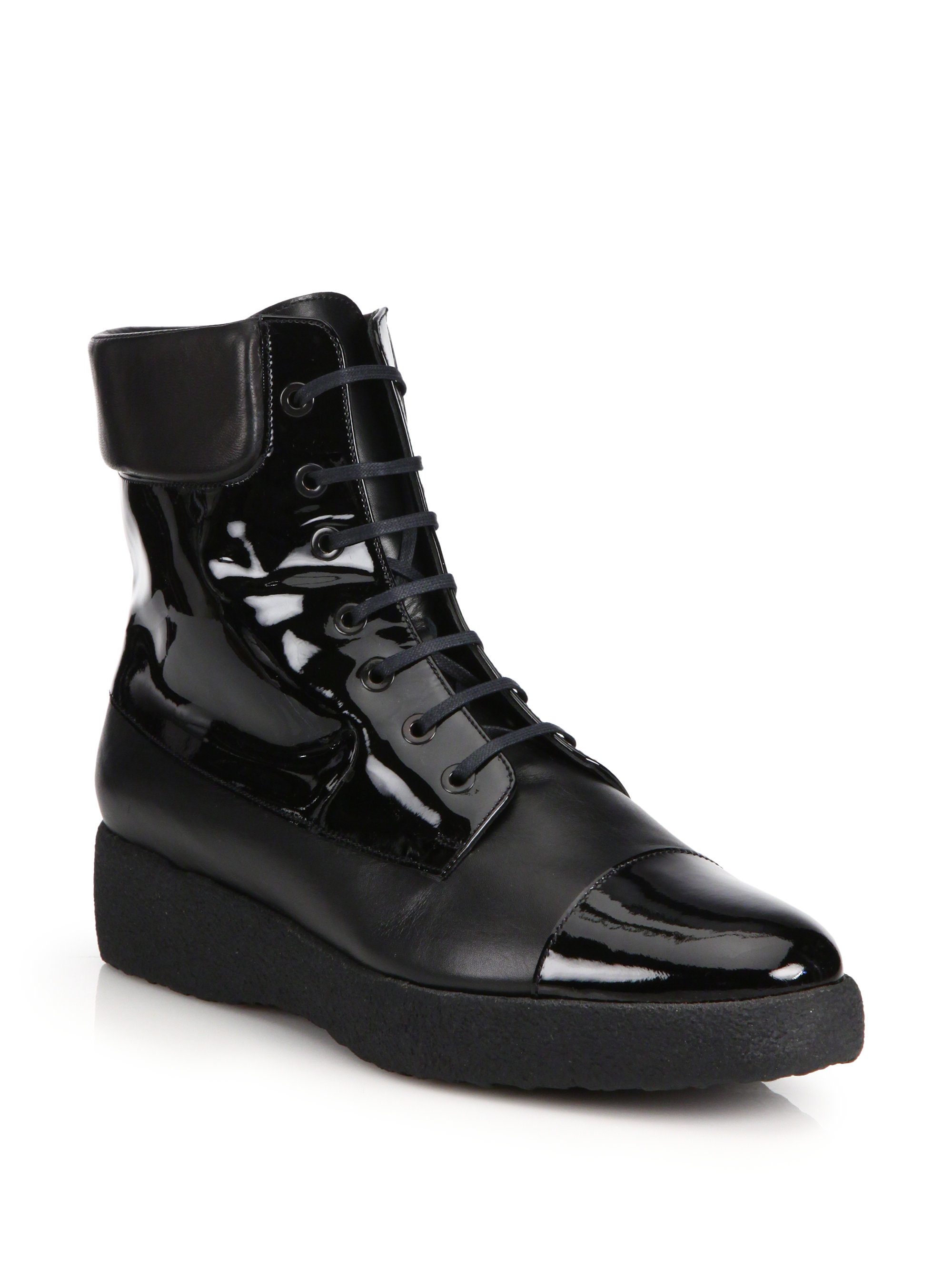robert clergerie freezj leather lace up boots in black lyst