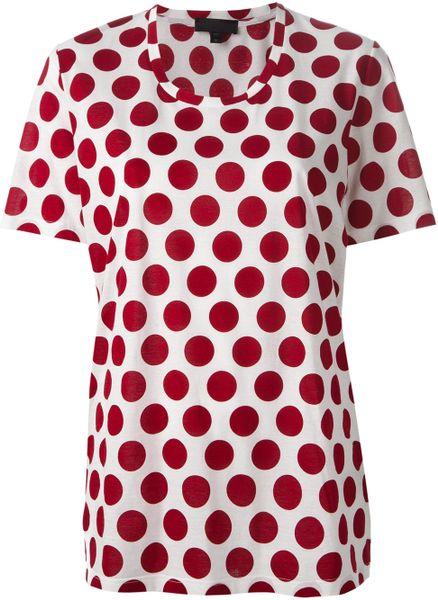 Burberry prorsum polka dot print t shirt in red white lyst for White red polka dot shirt