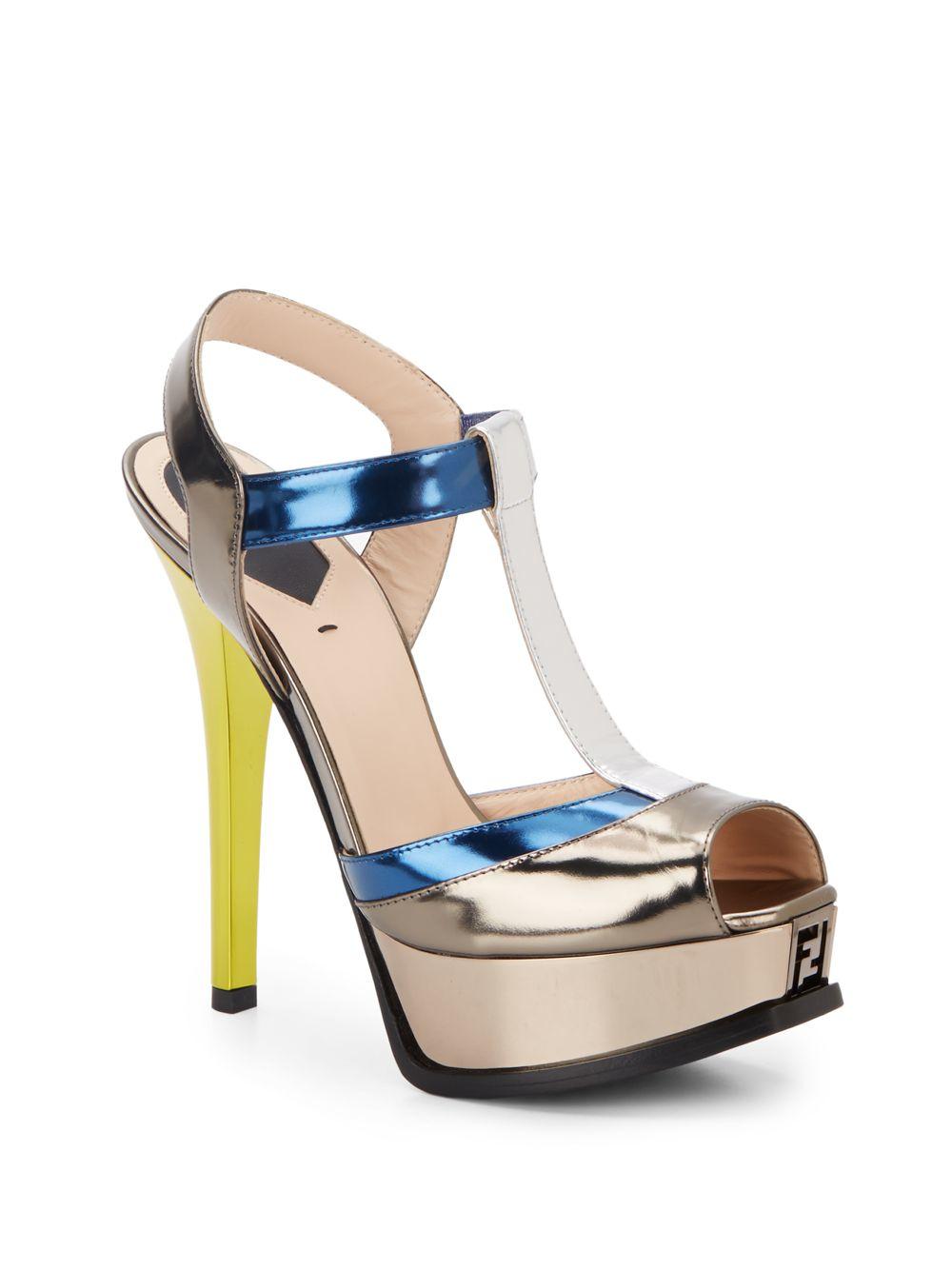fd72a9efaa69 Lyst - Fendi Sta Metallic T-Strap Platform Sandals in Blue
