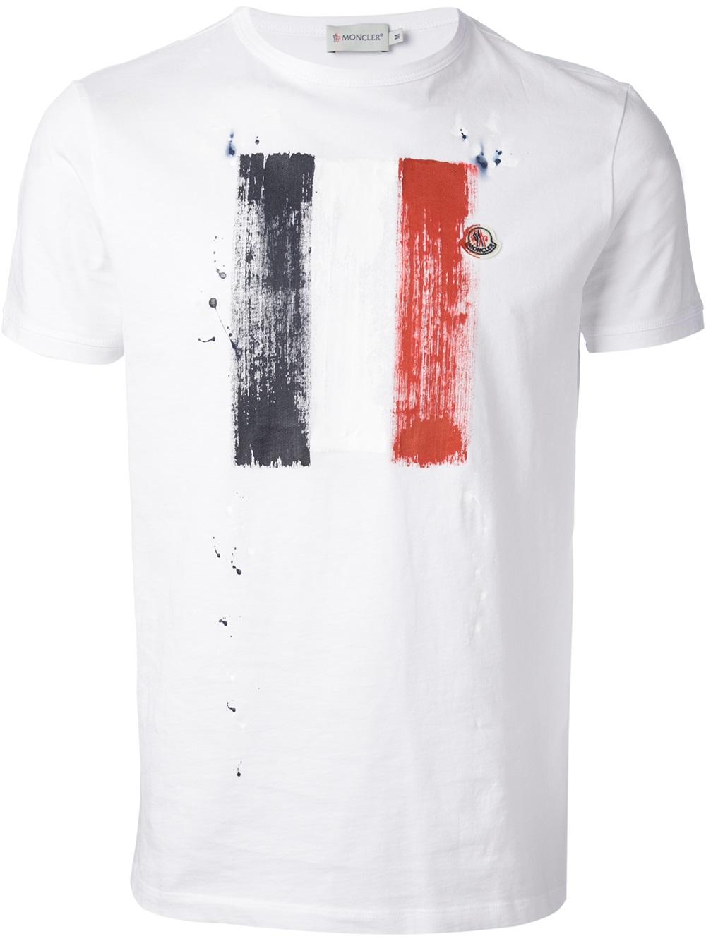 Lyst - Moncler Flag Print Tshirt in White for Men 8c77cea1f7b