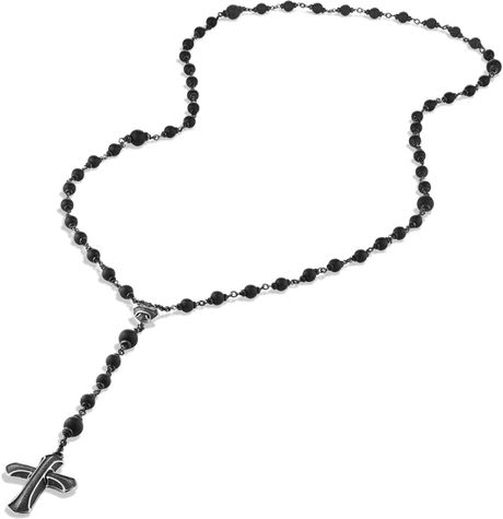 David Yurman Armory Rosary Necklace With Black Onyx In