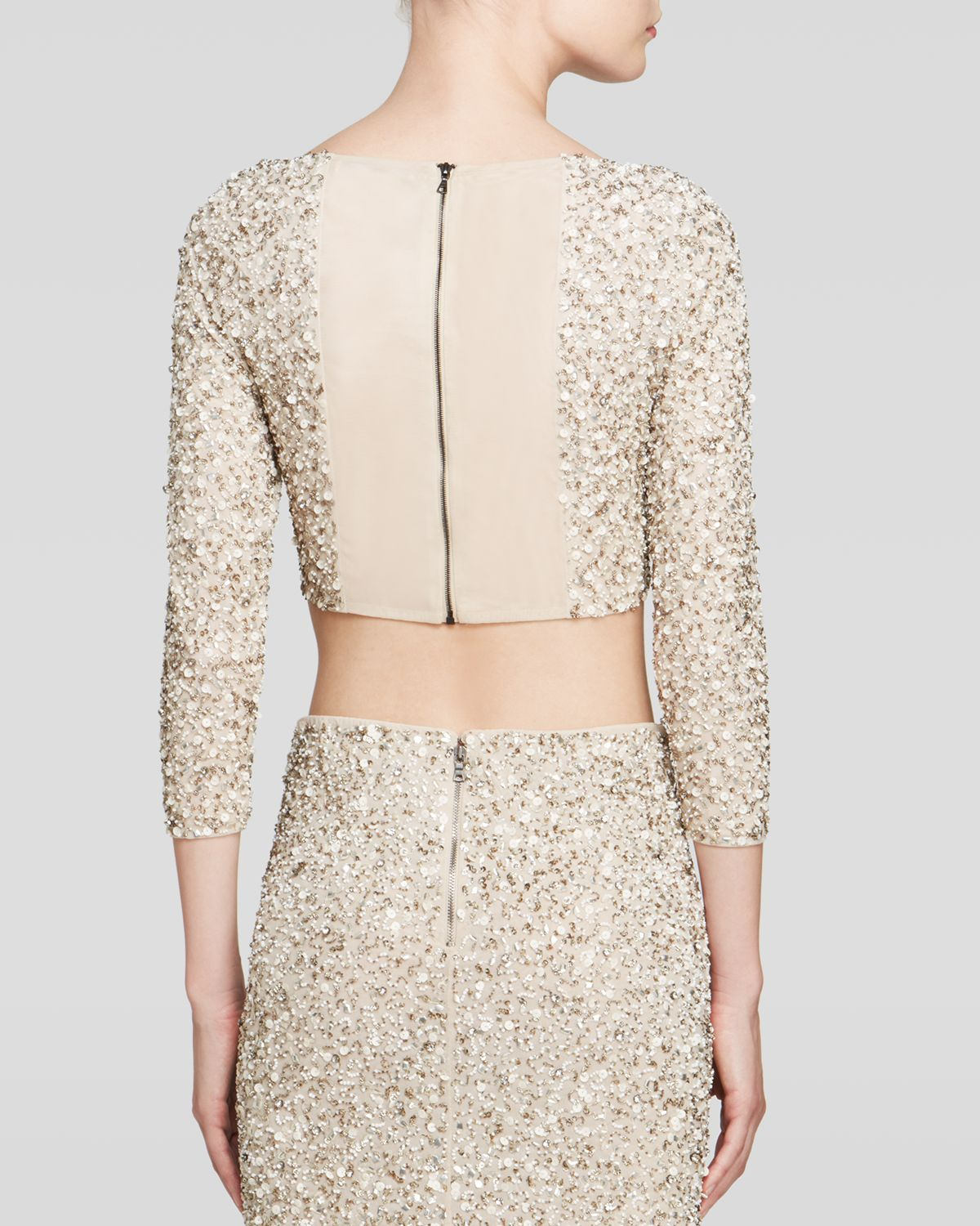 9b45686d87229 Alice + Olivia Lacey Embellished Crop Top in Natural - Lyst