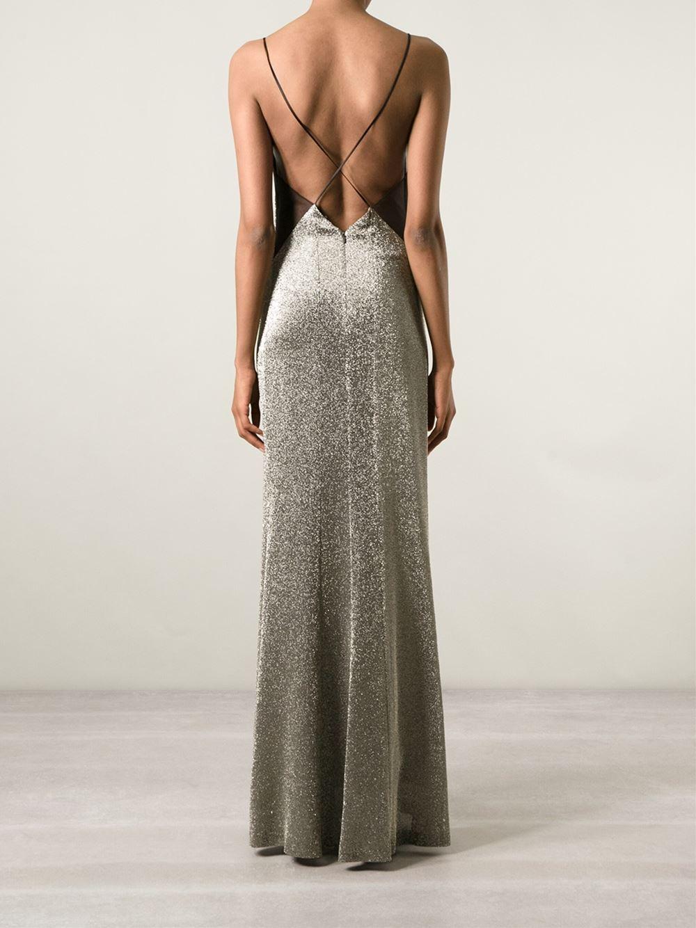 Lyst - Galvan London Metallic Slip Evening Dress in Metallic