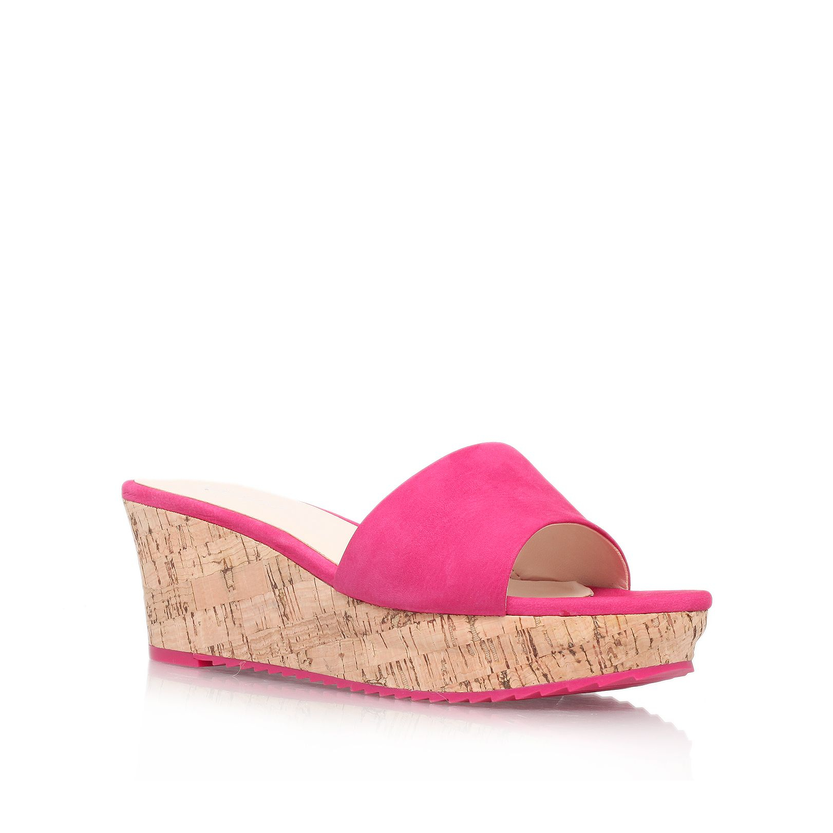 nine west confetty mid wedge heel sandals in pink lyst