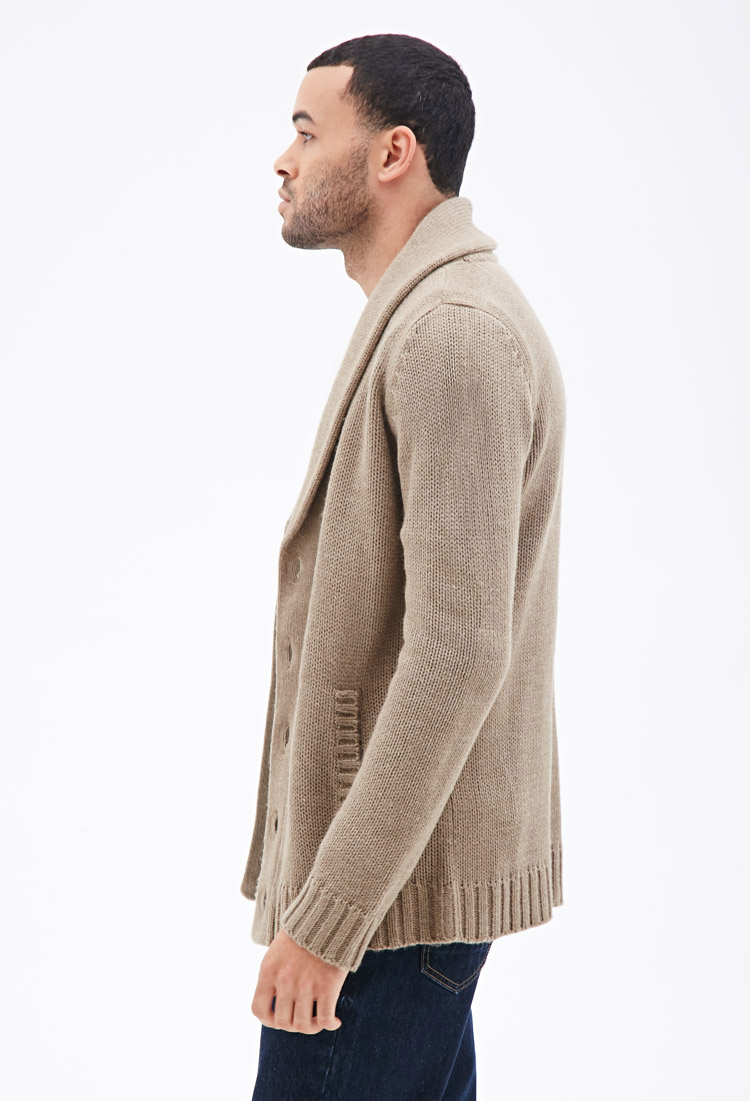 Forever 21 Shawl Collar Cardigan in Brown for Men | Lyst