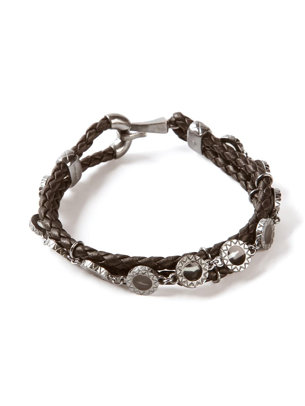 b6731bff534b3 Bottega Veneta Bracelet Blue. Lyst - Bottega Veneta Chain Embellished Intrecciato  Bracelet in Brown for Men