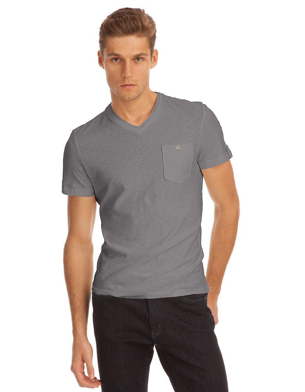 Kenneth cole v neck pocket t shirt in gray for men grey for Men s v neck pocket tee shirts
