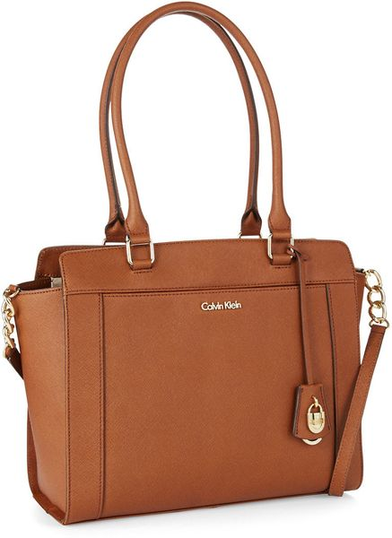 Calvin Klein Leather Tote Bag In Brown Lyst