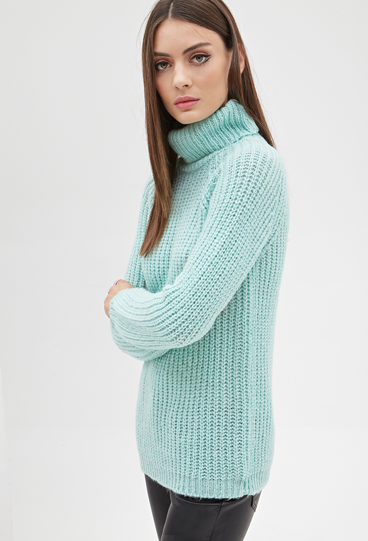Lyst Forever 21 Ribbed Knit Turtleneck Sweater In Green