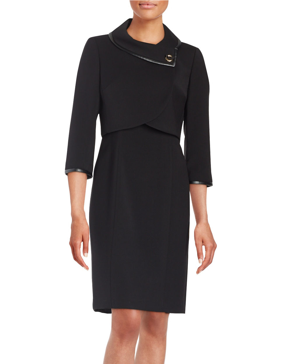 Tahari Petite Pencil Dress And Jacket Suit in Black | Lyst
