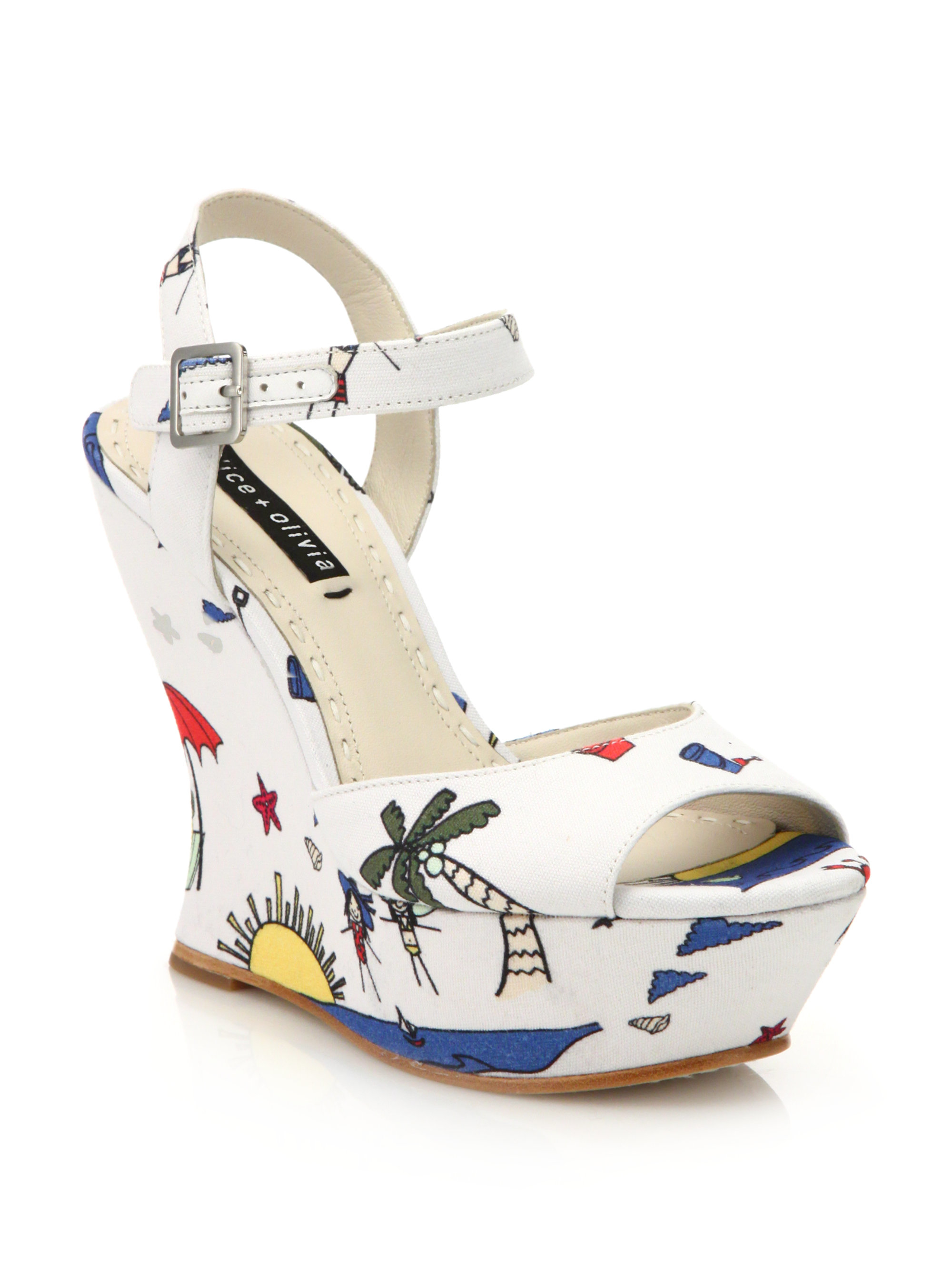 sale with mastercard cheap sale fashionable Alice + Olivia Printed Platform Wedges best online classic sale online footaction for sale 8nblwC