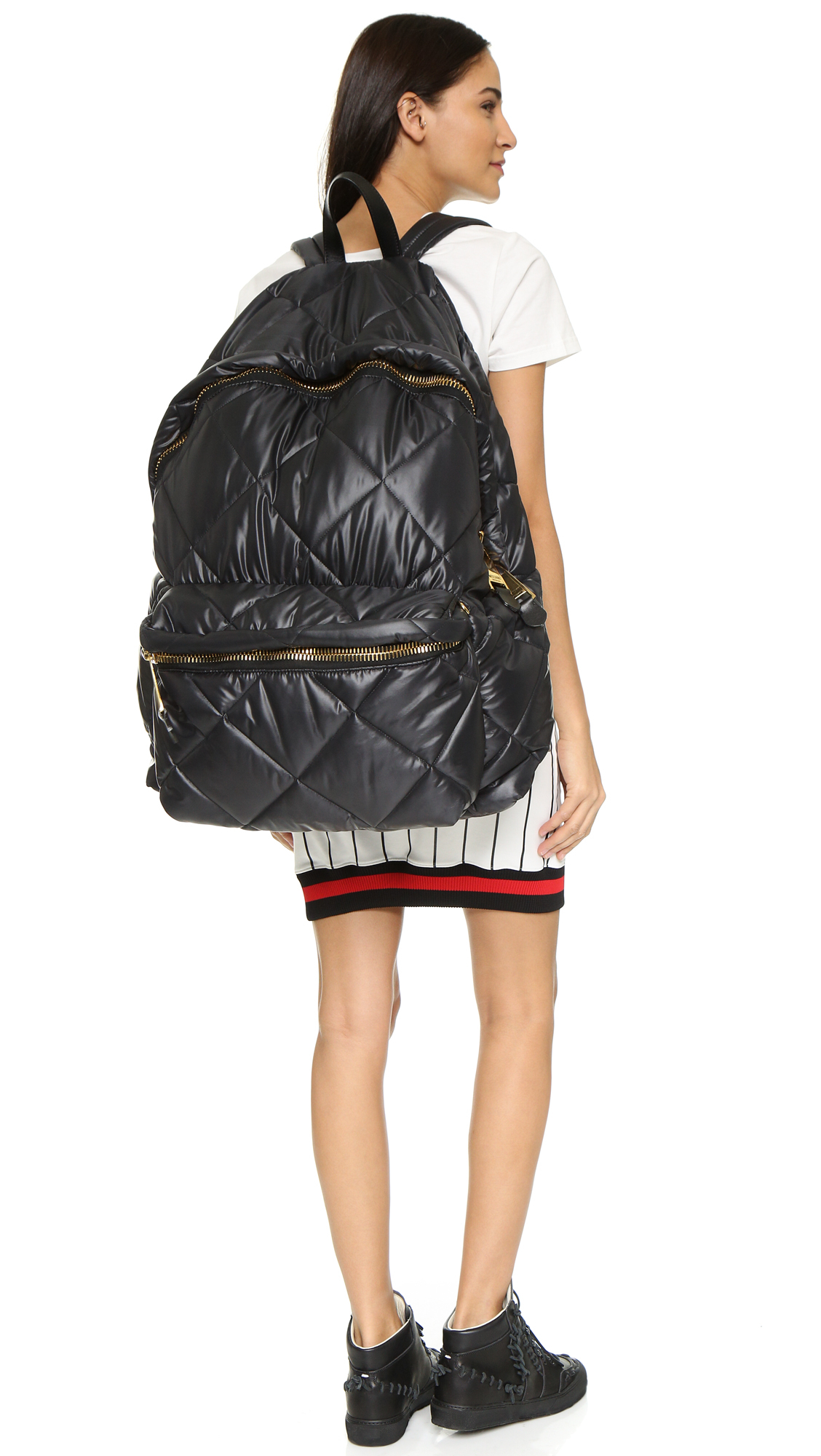 Lyst Moschino Oversized Quilted Backpack Black In Black