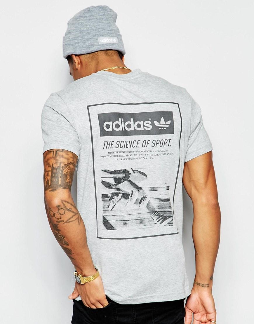 Adidas originals t shirt with back print aj7162 in gray for Vista print tee shirt