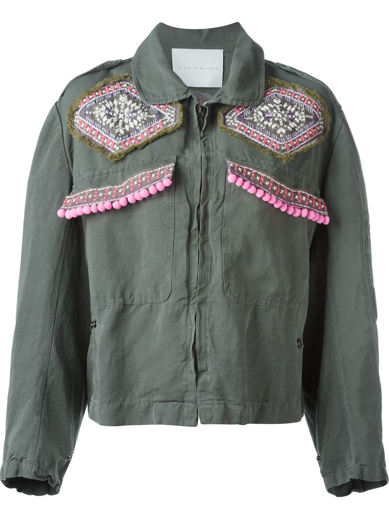 Lyst giada benincasa embroidered military jacket in gray