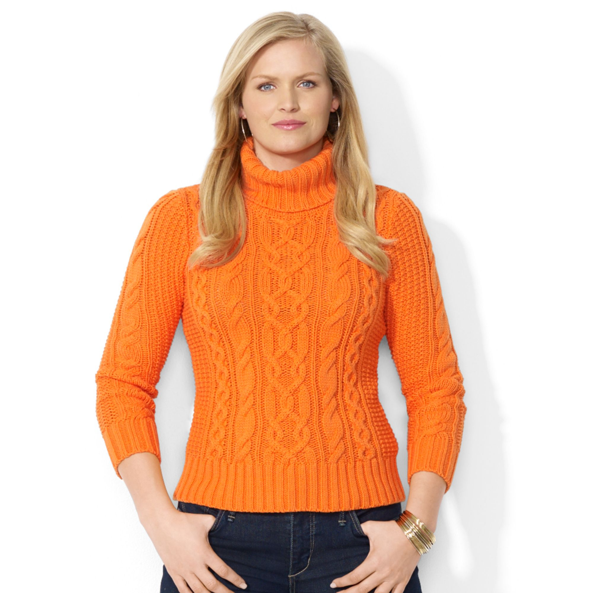 Lyst Lauren By Ralph Lauren Plus Size Cableknit Turtleneck Sweater