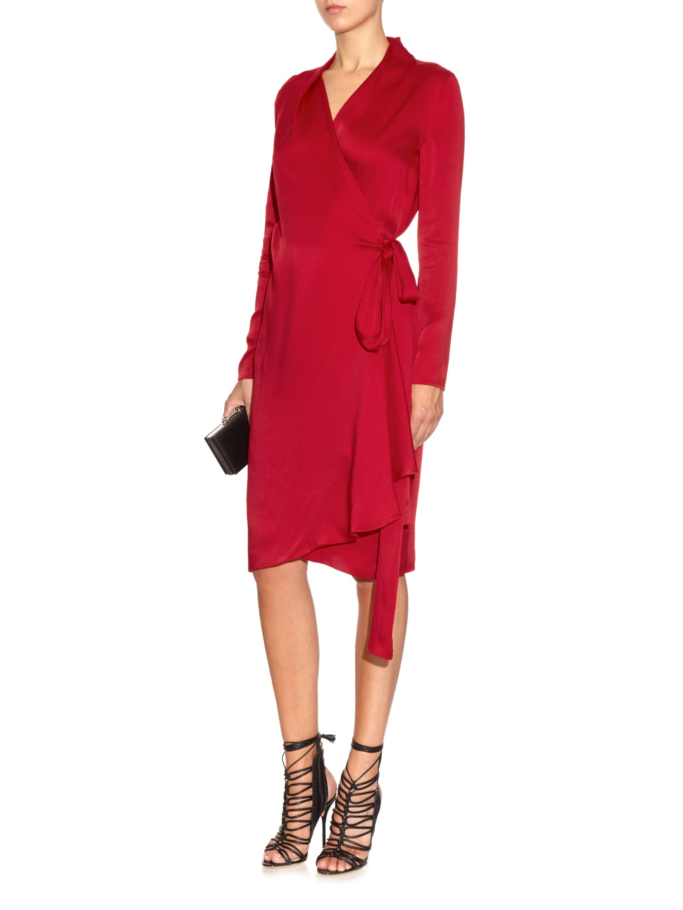 Lyst Lanvin Long Sleeved Satin Wrap Dress In Red