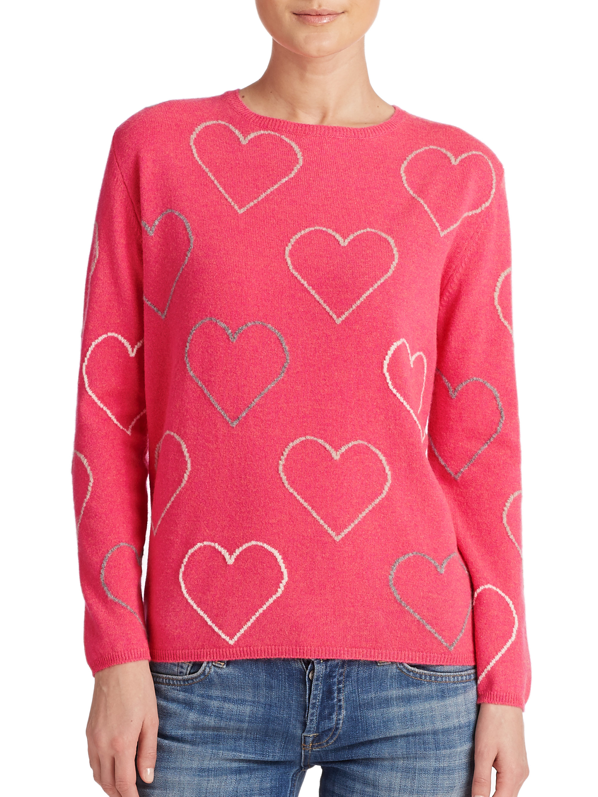 Lyst Chinti Amp Parker Heart Cashmere Sweater In Pink
