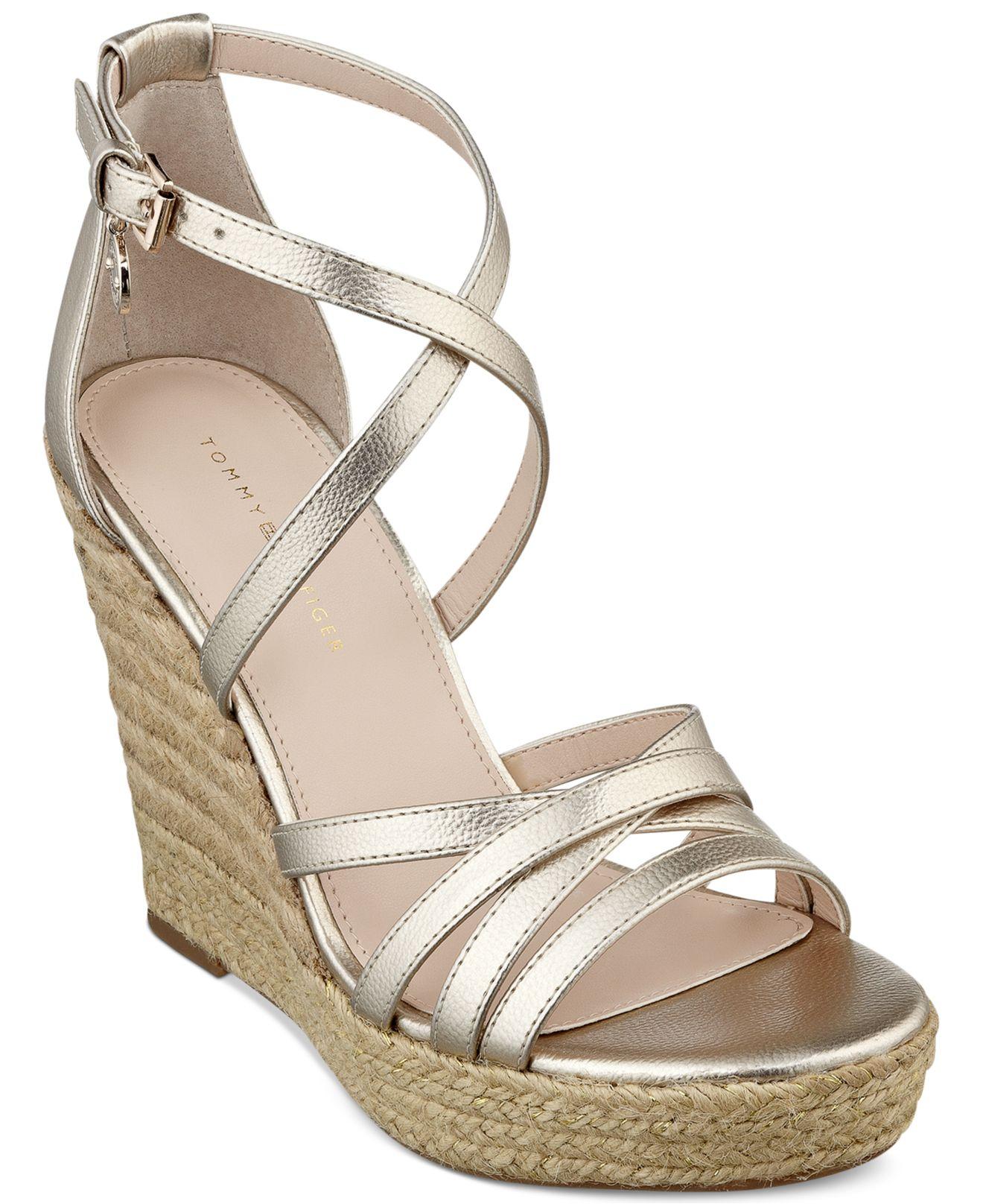 5f2cbeba23f Lyst - Tommy Hilfiger Women S Venitia Platform Wedge Sandals in Metallic