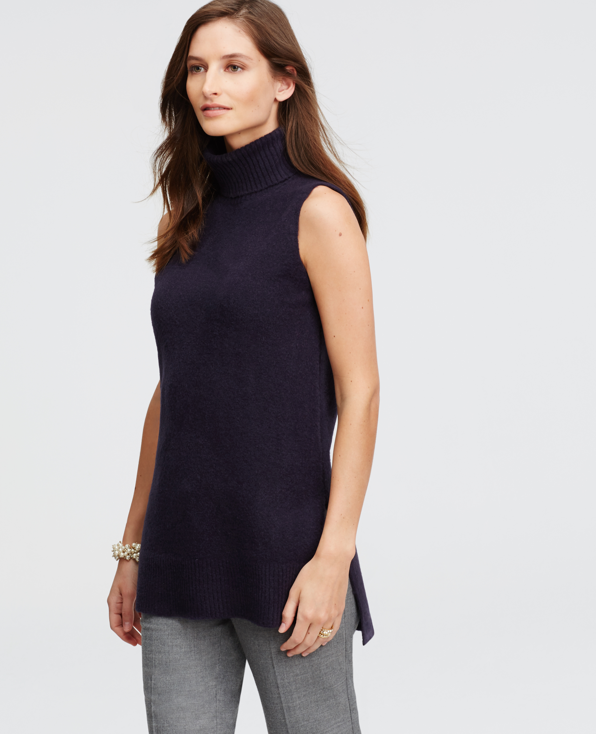 Lyst Ann Taylor Sleeveless Turtleneck Tunic In Blue