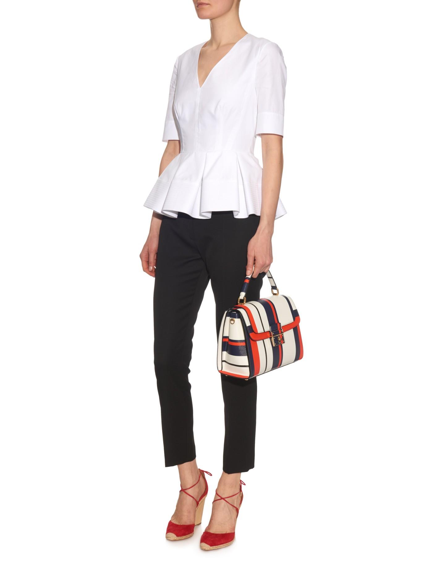 Lyst - Dolce   Gabbana Greta Medium Striped-leather Tote in White 79c939565fbe0