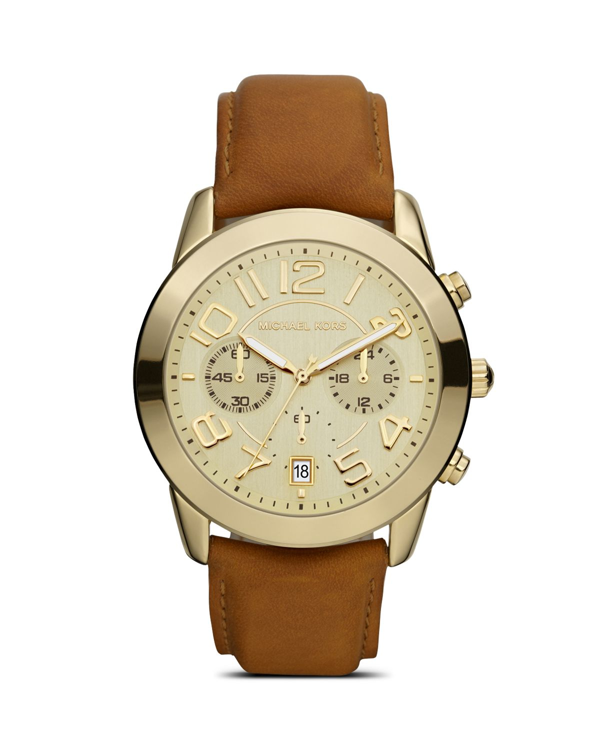 Lyst - Michael Kors Ladies Shiny Gold Watch On Leather ...