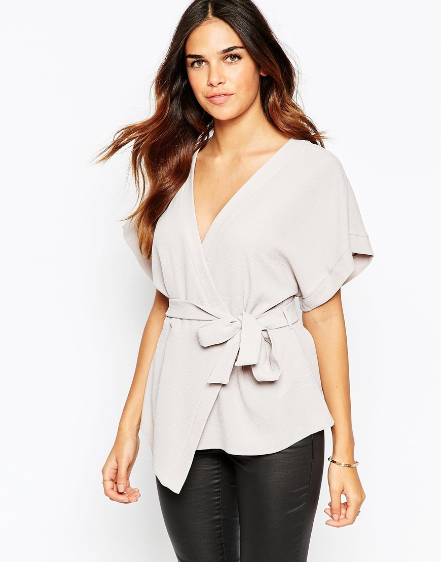29523d60ec67f Lyst - ASOS Obi Band Wrap Blouse in Gray