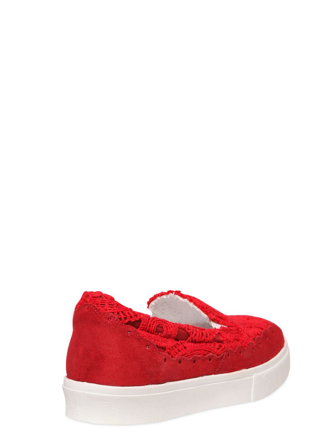 chiara ferragni 30mm macram lace sneakers in red lyst. Black Bedroom Furniture Sets. Home Design Ideas