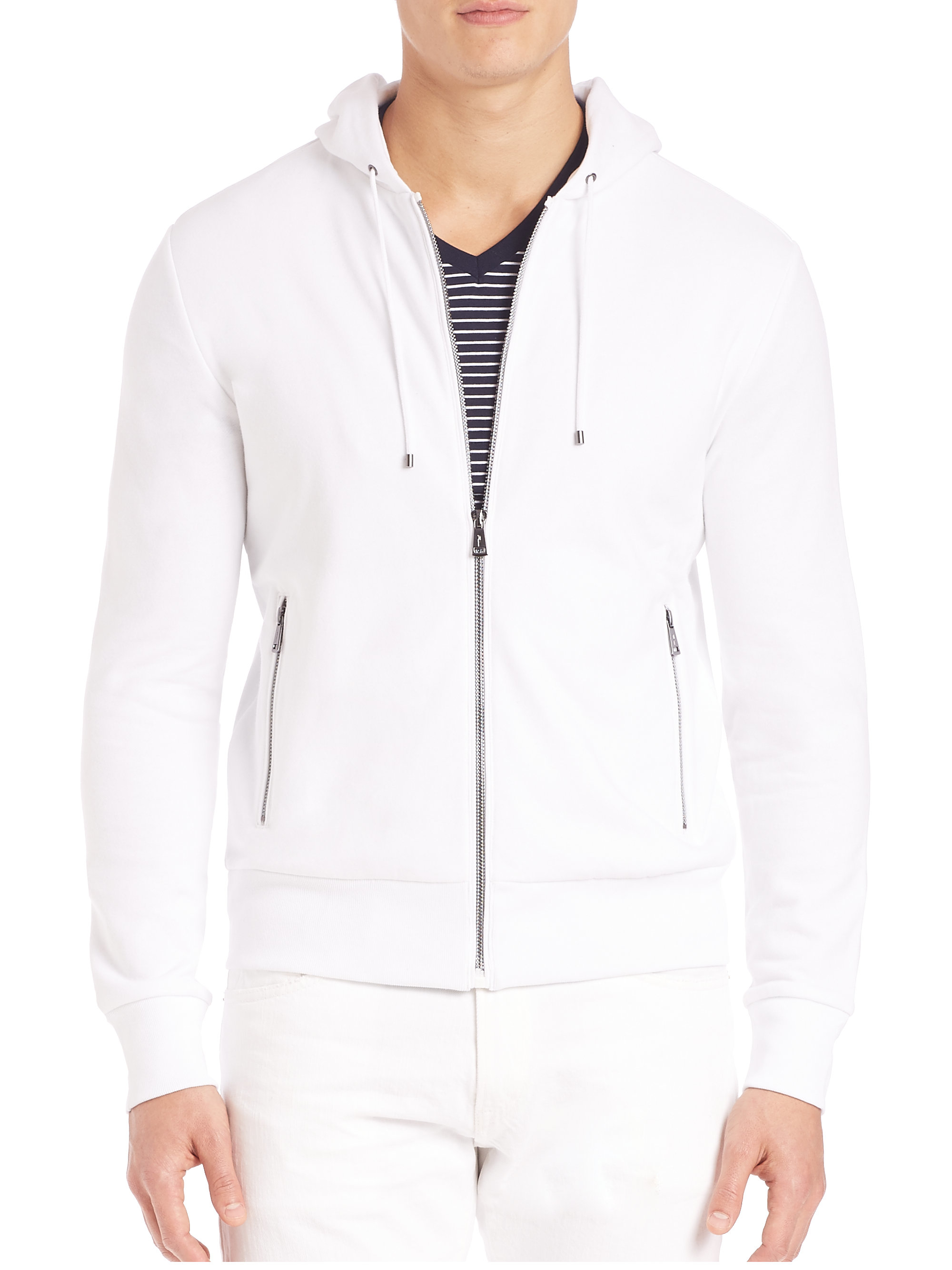 lyst polo ralph lauren fleece hoodie in white for men. Black Bedroom Furniture Sets. Home Design Ideas