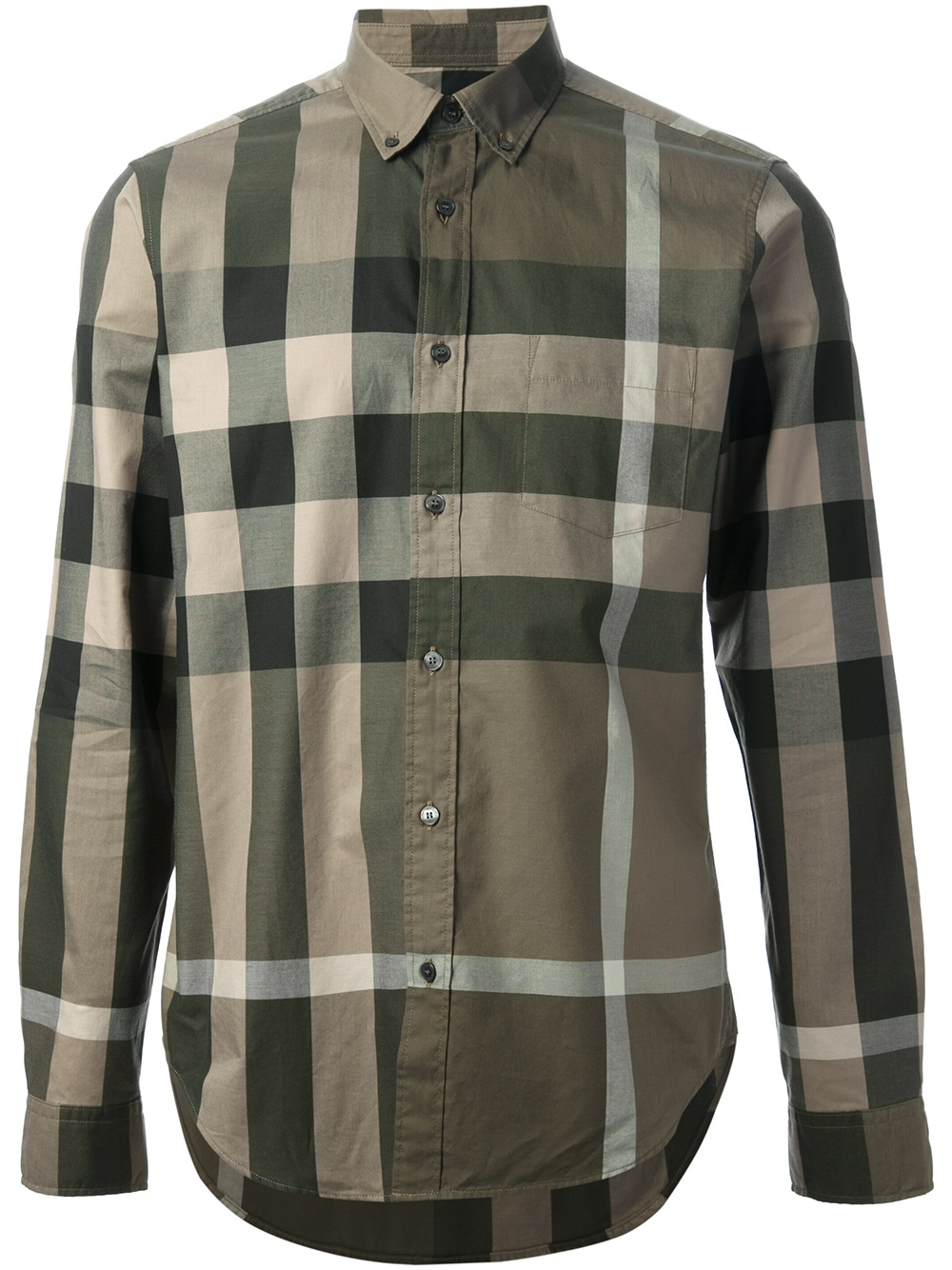 Burberry brit fred shirt in green for men lyst for Where are burberry shirts made