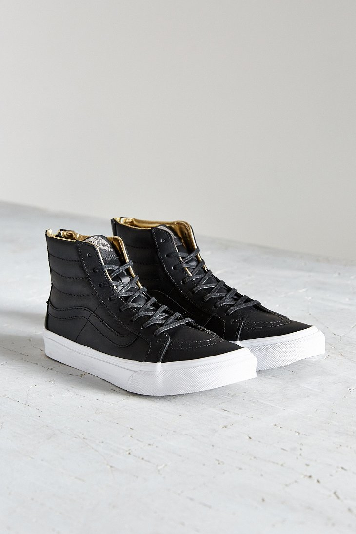 01a2119156 Lyst - Vans Leather Sk8-hi Slim Zip Sneaker in Black