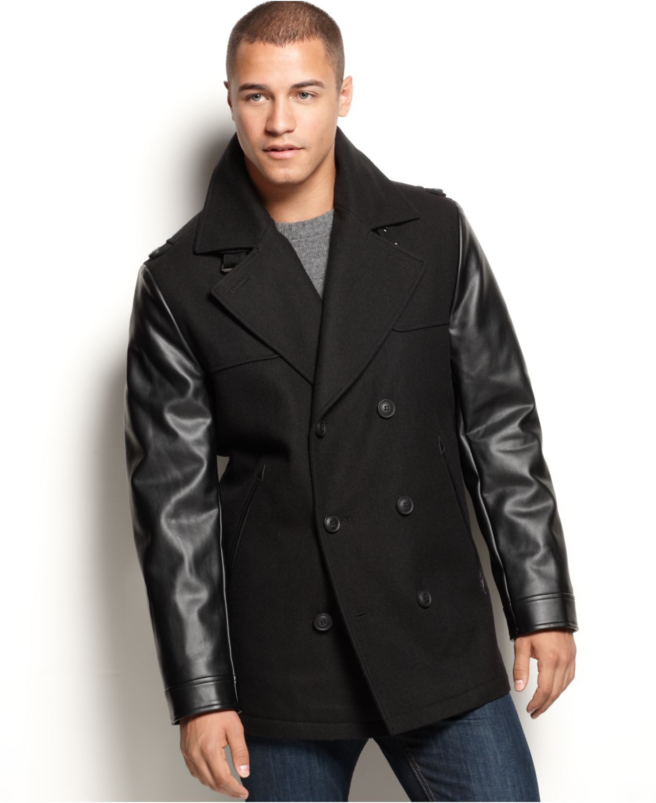 Sean john Faux-Leather-Sleeve Military Pea Coat in Black for Men