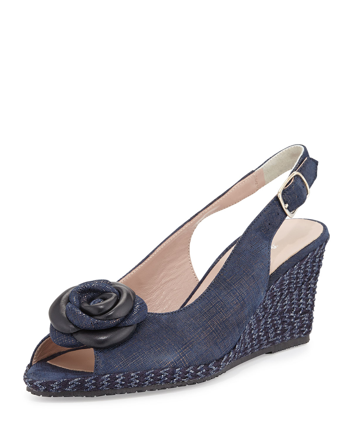 Navy Leather Slingback Shoes Heel