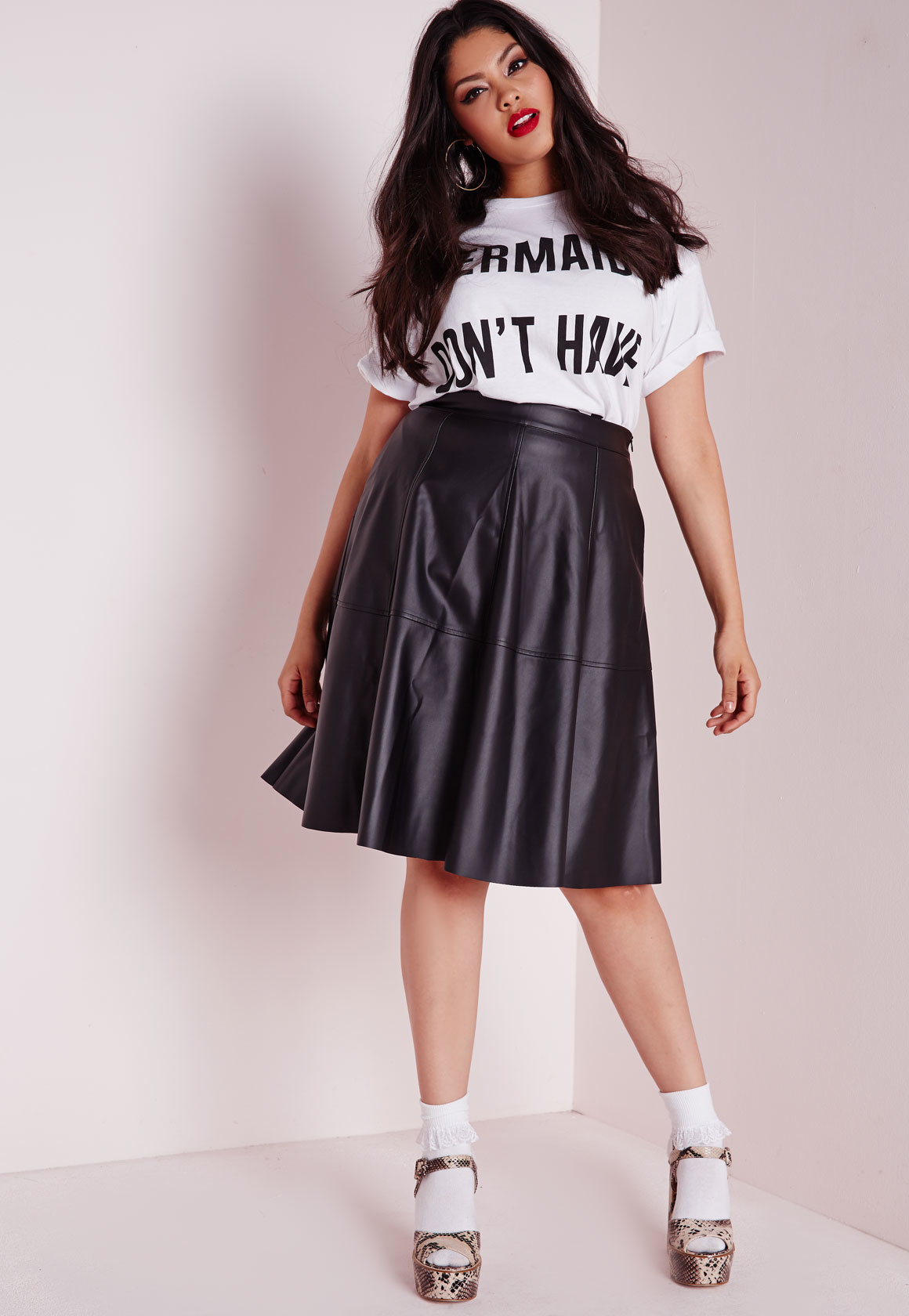ff826dc4e70 Lyst - Missguided Plus Size Faux Leather Midi Skater Skirt Black in ...