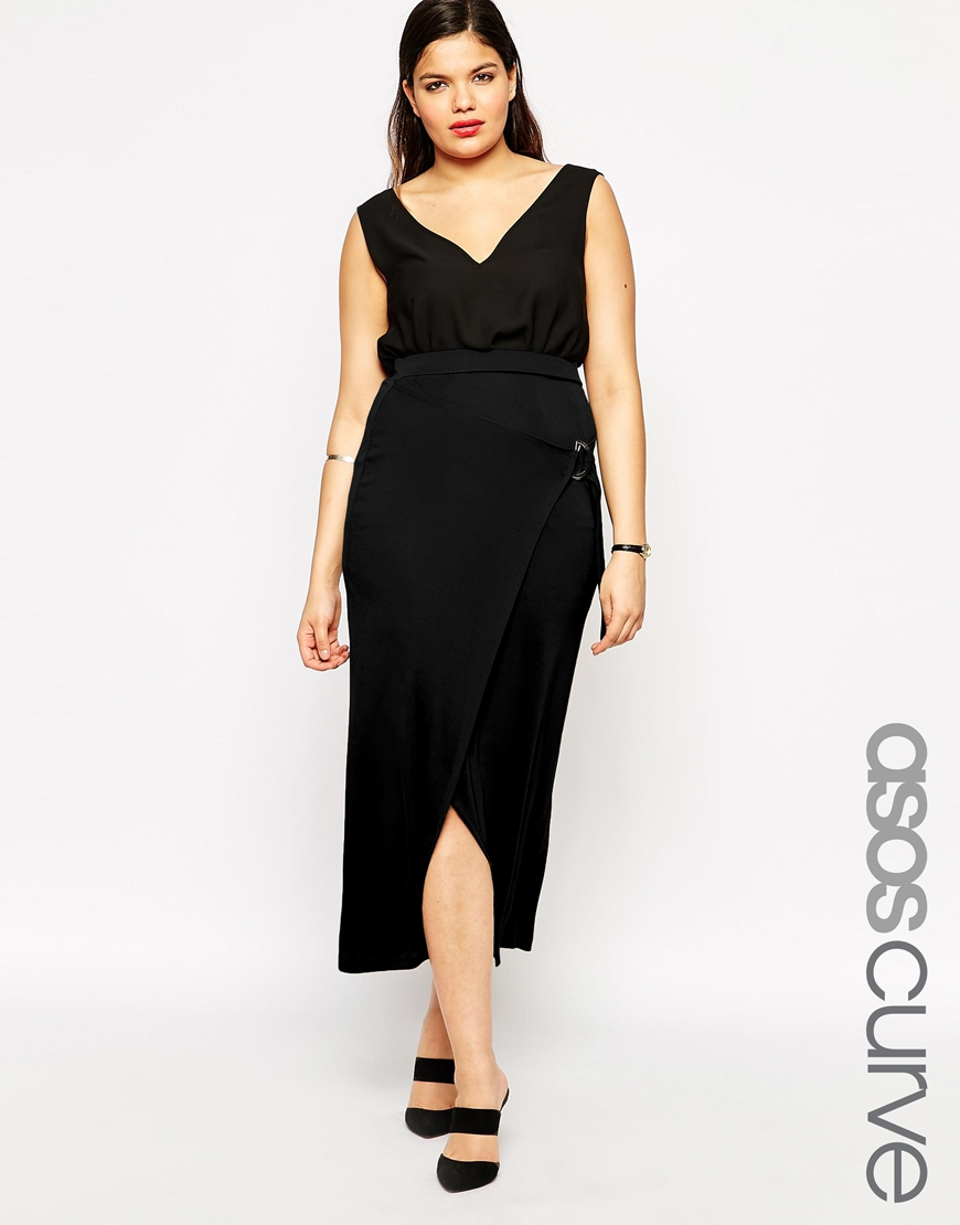 asos curve maxi skirt with d ring belt in black lyst