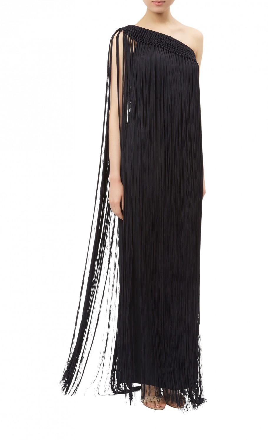 Temperley london Long Damara Fringe Dress in Black