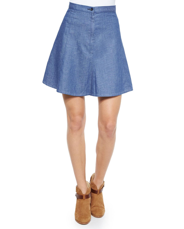 rag bone suki denim a line skirt in blue rinse lyst