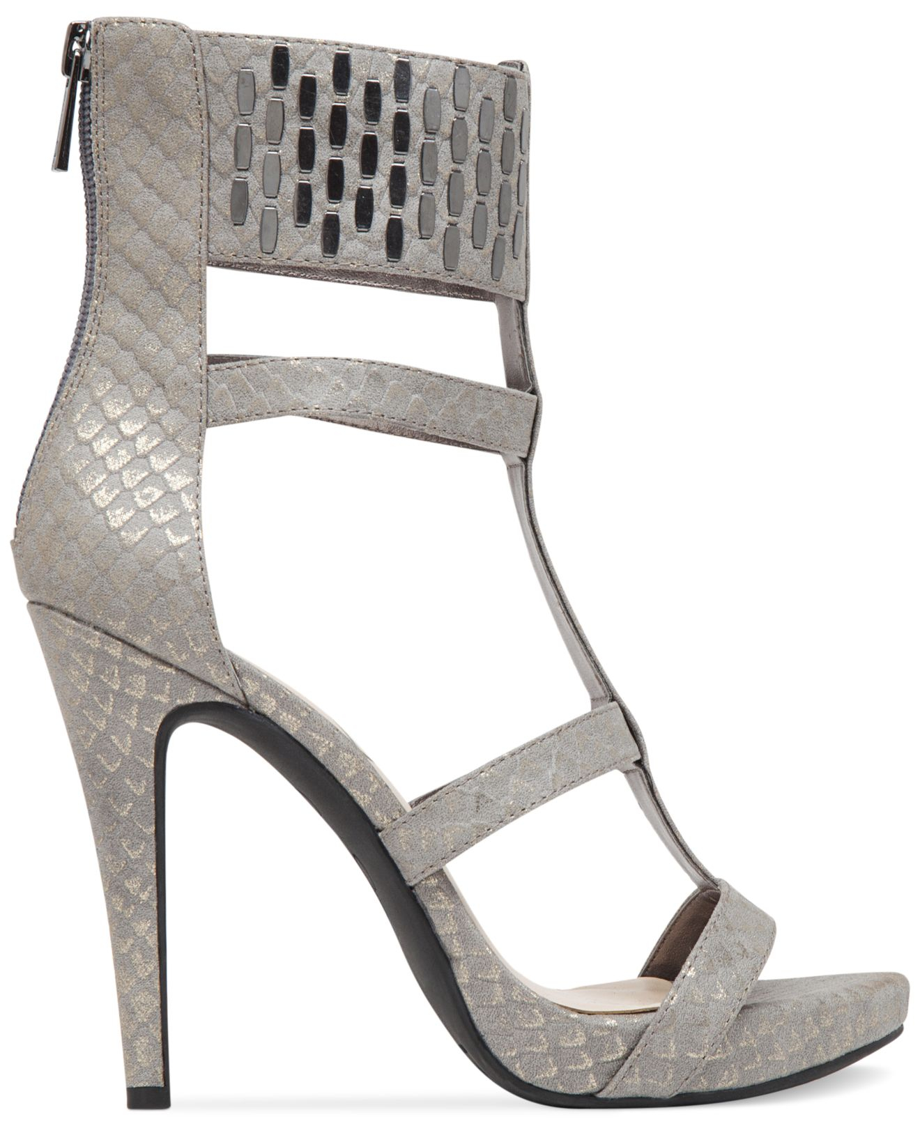 6a7a3adb958c37 Lyst - Jessica Simpson Celsus Caged Dress Sandals in Metallic