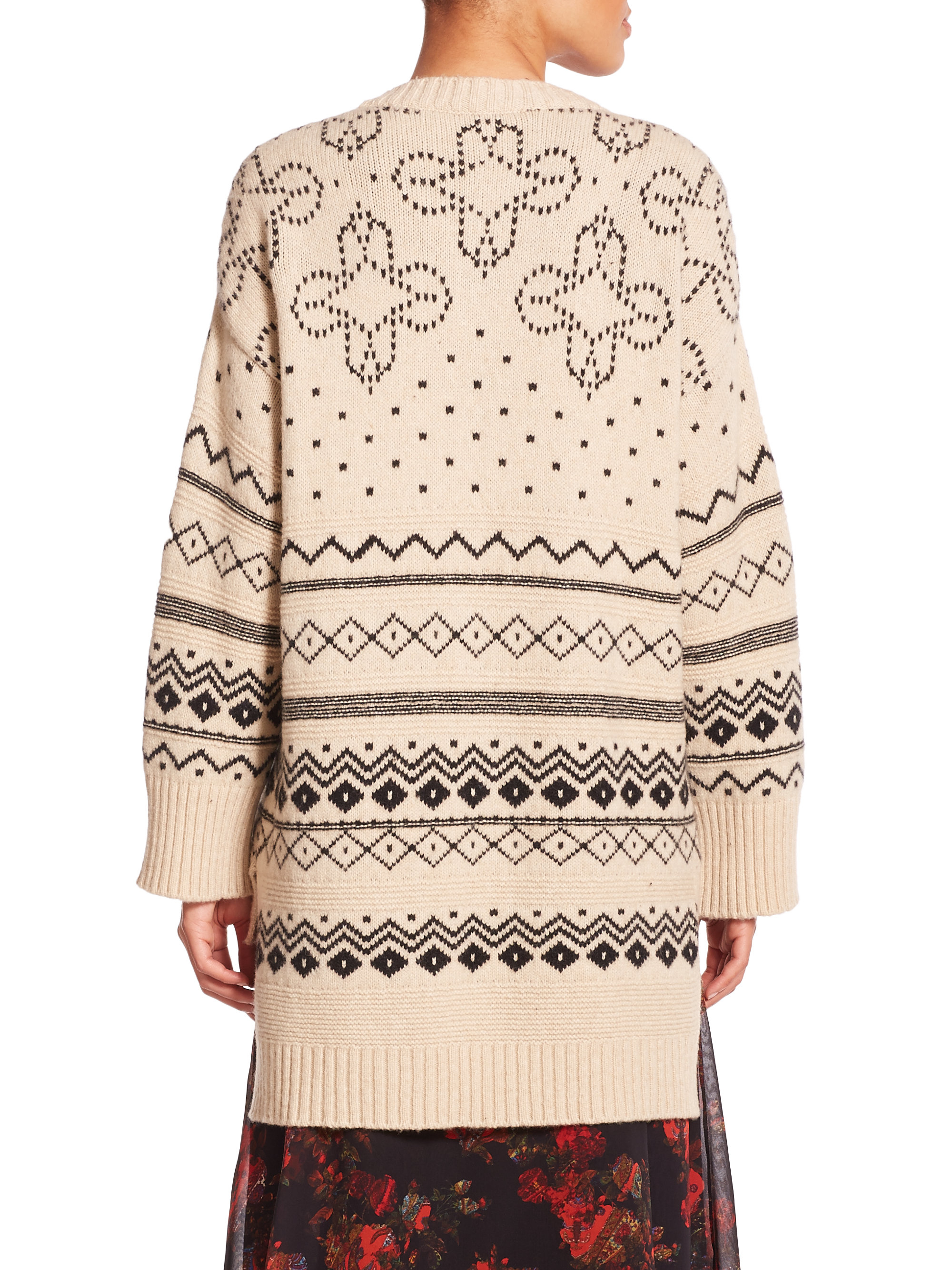 Thakoon Oversized Fairisle Sweater in Natural | Lyst