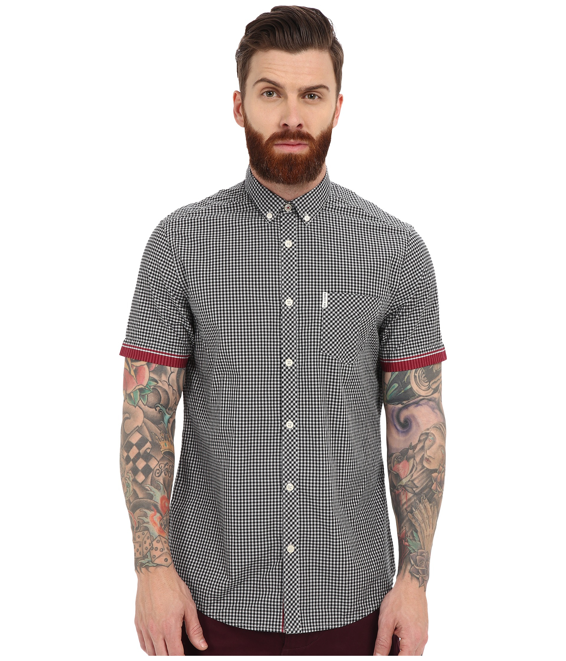 d166341ca3cb9 Ben Sherman Short Sleeve Tipped Sleeve Gingham Ma12556a in Black for ...