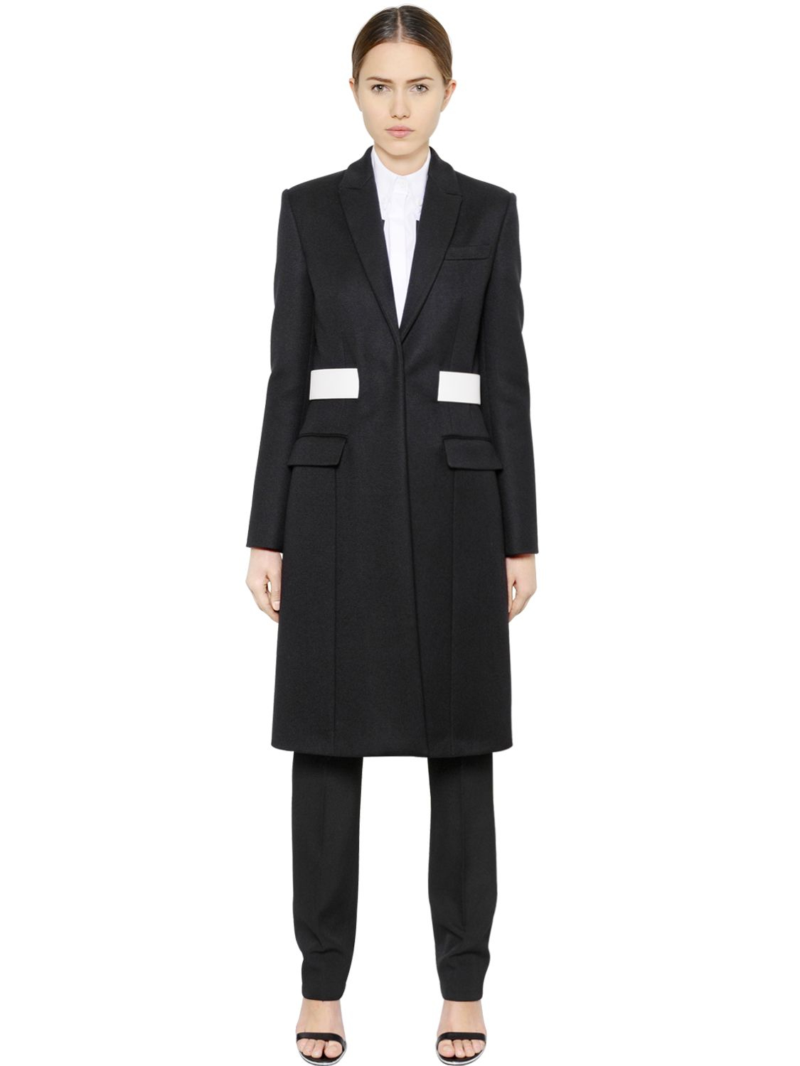 Givenchy Military Melton Wool Coat in Black | Lyst