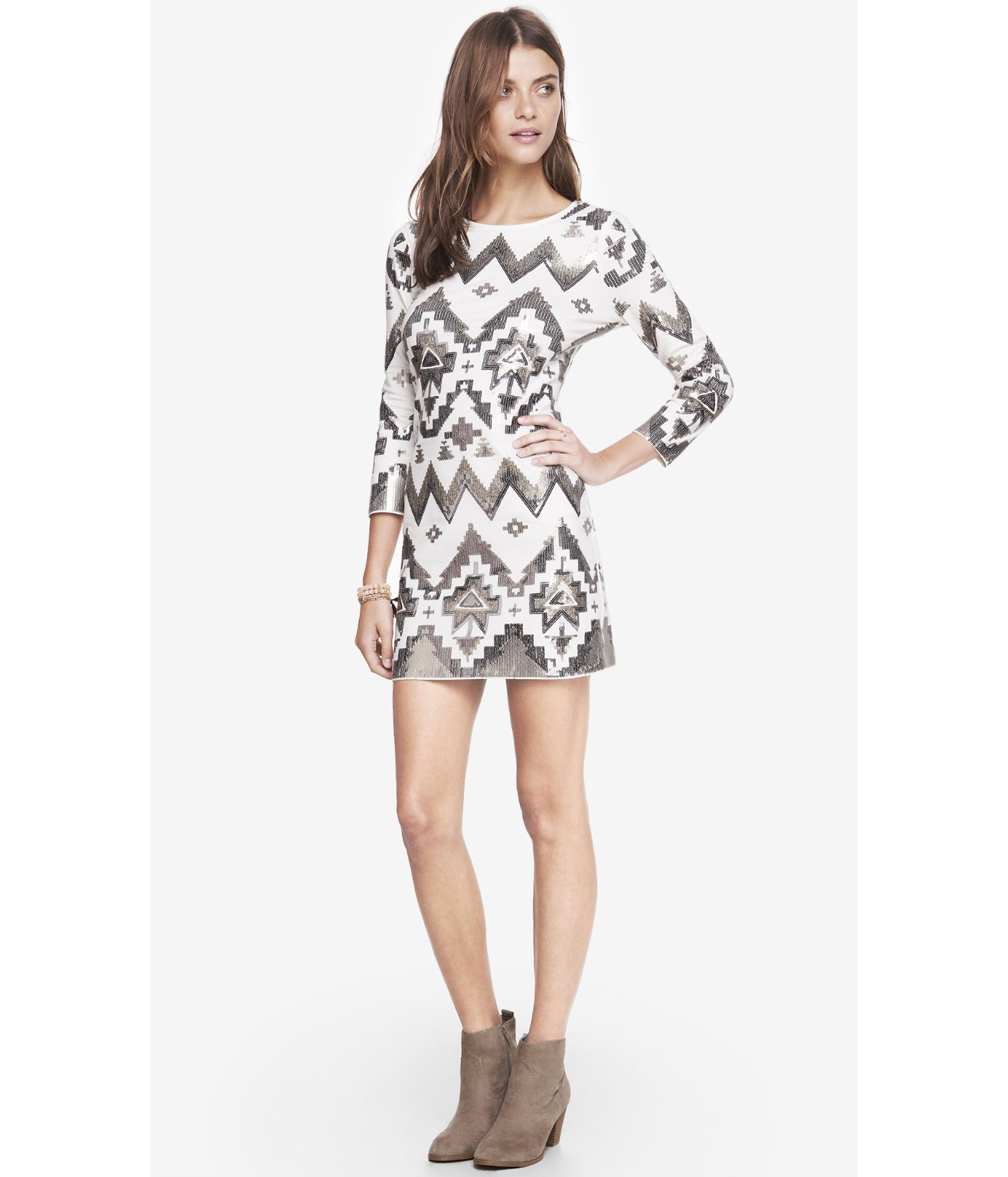 b19ec71c6f6f Lyst - Express Aztec Sequin Embellished Mini Dress in White