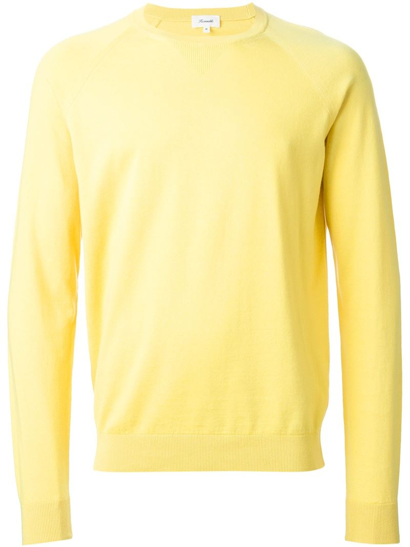 Façonnable Crew Neck Sweater in Yellow for Men | Lyst