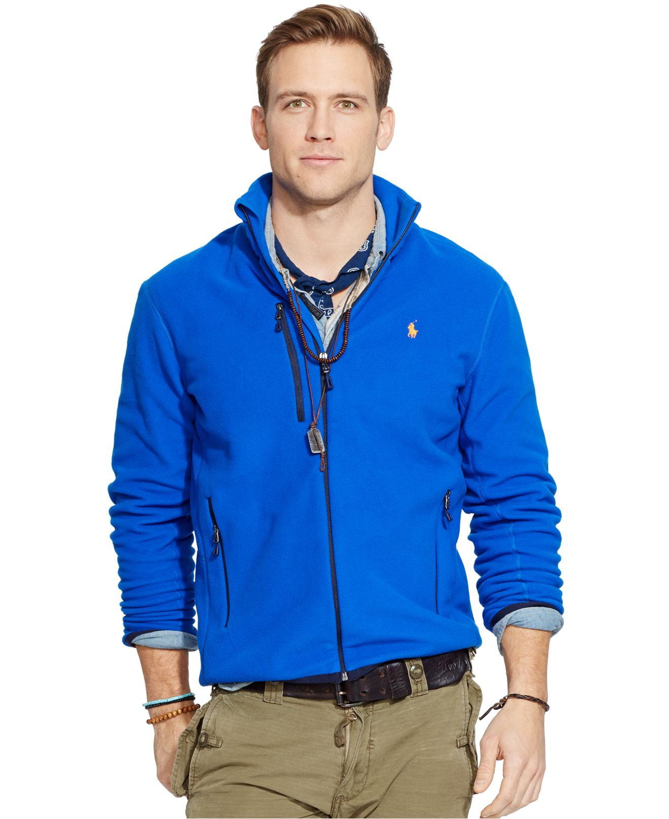 lyst polo ralph lauren fleece mockneck jacket in blue. Black Bedroom Furniture Sets. Home Design Ideas
